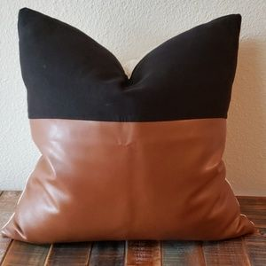Faux leather and linen pillow cover. Cover only.